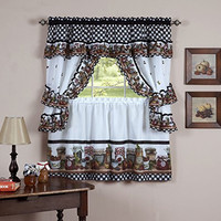 "Royal Decorative Printed Kitchen Curtain Cottage Set with ""Mason Jars"" - 57x36"