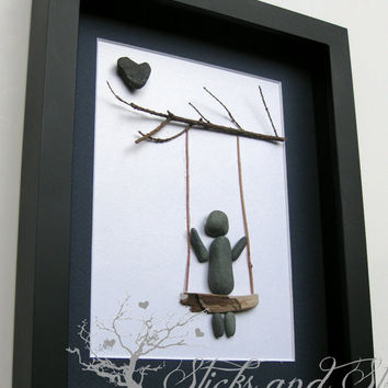 Pebble Art Swing Scene-Modern Childrens Art-Stone Art -Baby Shower Gift SticksnStone Designs -Modern Nursery Pebble Art - Children's Swing -