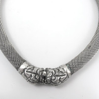 Antique Chinese Foo Dog Necklace, Asian Silver Mesh Tube Rope Double Foo Dog Collar Choker, Fu Dog Good Luck Protector Amulet Chinese Export