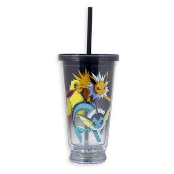 Pokemon Tumbler Travel Cup/Mug with Red, Yellow and Blue LED Bottom, W/Lid and Straw, 16 OZ, Set of 1
