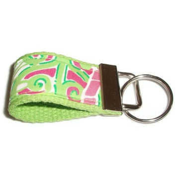 Tiny Keychain Fob made with Lilly Pulitzer Fabric by xoribbons