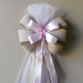 Burlap Pew Bow, Burlap and Pink Tulle Pew Bow, Pink Pew Bow,Wedding Pew Bow,Bridal Shower Bow, Anniversary Bow, Wreath Door Decoration