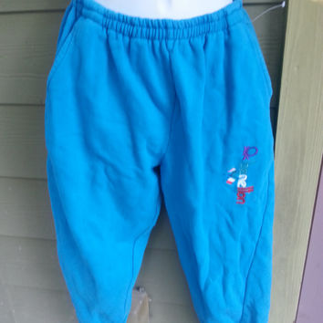 Vintage 80s Benetton Turquoise Aqua Sweatpants Workout Exercise Pants High Waisted Size Small/Med