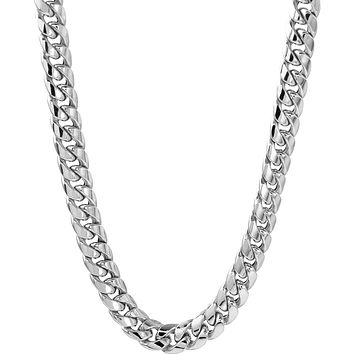 """14kt Solid White Gold 7MM Miami Cuban Link Chain 22"""" 68.4 Grams"""