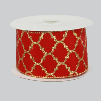 "2.5"" Red Gold Trellis Satin Wire Edge Ribbon (10 Yards)"