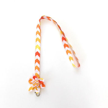 Lanyard Id Badge Holder Orange Chevron Kanzashi Flower, chevron stap with a chevron button center, with a clip holder
