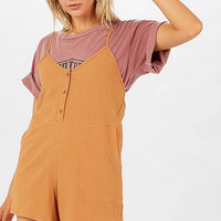 Lover Button Front Crepe Playsuit - Brown