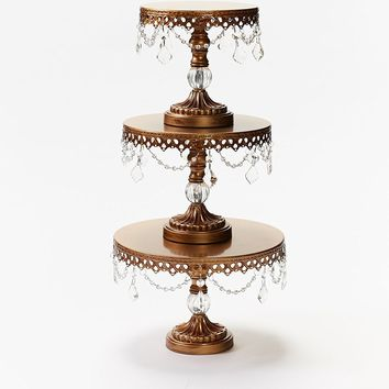 Opulent Treasures Chandelier Antique Gold Cake Stands (Set of 3) Metal, Round, Wedding Cake, Birthday Party Cupcake & Dessert Stands, with Faux Crystal Ball Pedestal Base