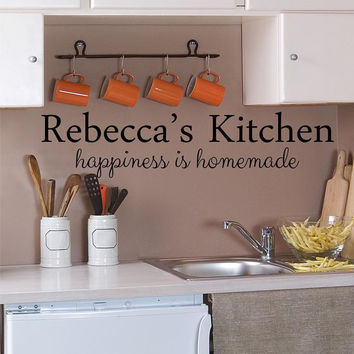 Kitchen Decals - by Decor Designs Decals, Personalized Kitchen Decal -Happiness is Homemade - Name Decal - Kitchen Quotes - Vinyl Quote - Decals - Kitchen Decal B17