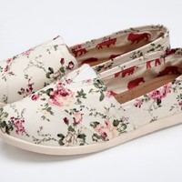 Summer Flower Print Canvas Shoes