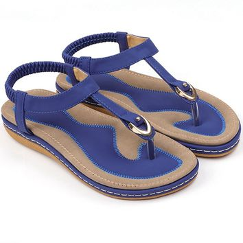 EU 35-42 5 Colors Fashion Summer New Women Casual Leather Sandals Flat Single Shoes Soft Breathable Slippers Beach Flip Flops