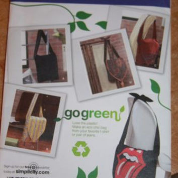 Simplicity 2972 Sewing Pattern Go Green Flap From Recycled clothes Purse Uncut