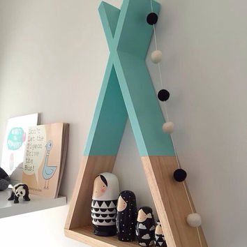 Tee Shelf Mint Shelves Woodland Nursery Decor Tribal