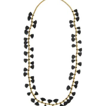Long Beaded Necklace with Fringe
