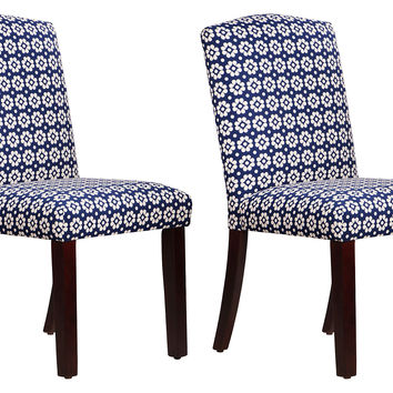 Navy Daisy Indio Side Chairs, Pair, Dining Chair Sets
