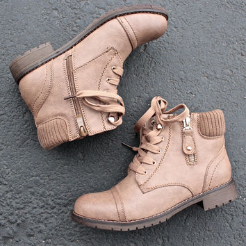 low cut cutie sweater boots in khaki