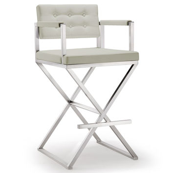 Director Light Grey Steel Barstool