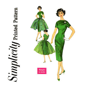 1950s Dress Pattern Bust 32 Simplicity 2602 Evening Sheath Bateau Neckline Full Gathered Tie On Overskirt Womens Vintage Sewing Patterns