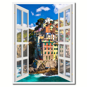 Fisherman Village Riomaggiore Picture 3D French Window Canvas Print with Frame Gifts Home Decor Wall Art Collection
