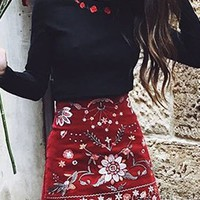 Black Embroidery Rose Long Sleeve Blouse