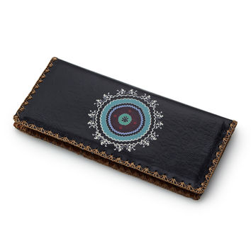 Celestial Embroidered Wallet | Embroidered wallet, vegan leather wallet, faux leather wallet, medallion design, colorful wallet