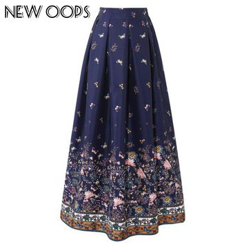 NEW OOPS Women 100cm High Waist Maxi Skirts  Vintage Floral Printed Pleated Floor-Length Long Skirts Saias Jupe Longue A1605014