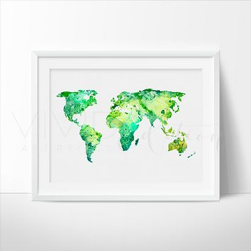 World Map 8 Watercolor Art Print