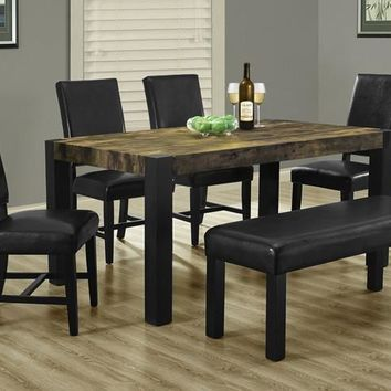 """Distressed Reclaimed-Look / Black 38""""X 64"""" Dining Table"""