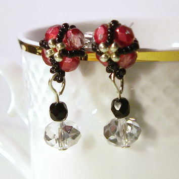 Pink Stud Bead Earrings with a Little Black Beadwork