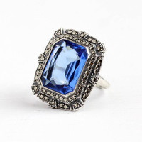 Art Deco Ring - Vintage Sterling Silver Blue Glass Stone Marcasite Shield Jewelry - Antique 1920s Size 7 1/4 Simulated Sapphire Statement