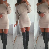 Vestidos Bodycon Dress Autumn Winter Women Sexy Casual Batwing Sleeve Off Shoulder Dresses Lady Sexy Mini Dress Plus Size GV275