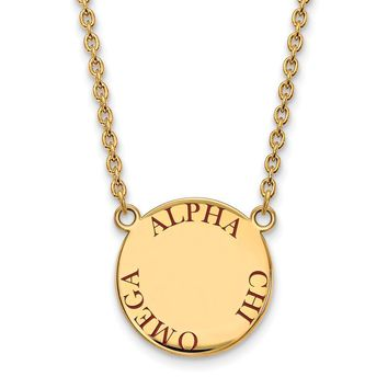14K Plated Silver Alpha Chi Omega Large Enamel Necklace