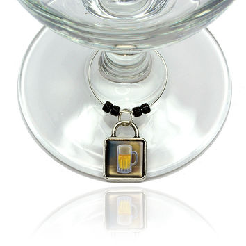 German Beer Mug Wine Glass Silver Charm