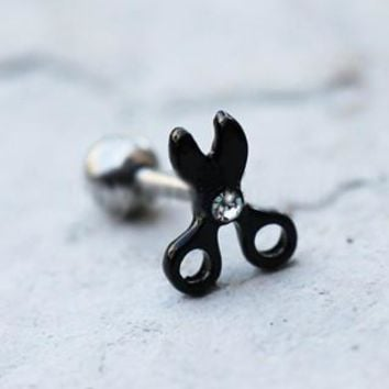 Black PVD Plated Running with Scissors Cartilage Earring