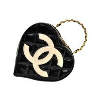 Chanel Black Quilted Patent Leather Heart Shaped Vanity Cosmetic Bag - Limited Edition