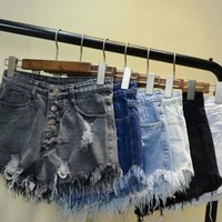 WOMEN HOT PANTS RIPPED DENIM SHORTS JEANS SJ312