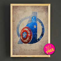 Avengers Captain America Watercolor Art Print Comic Superhero Poster House Wear Wall Decor Gift Linen Print - Buy 2 Get FREE - 134s2g
