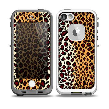 The Vector Brown Leopard Print Skin for the iPhone 5-5s fre LifeProof Case