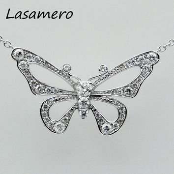 LASAMERO Halo 0.3 CT 18k White Gold Natural Diamond Round Cut Floral Hollow Filigree Pave Set Pendant Necklace