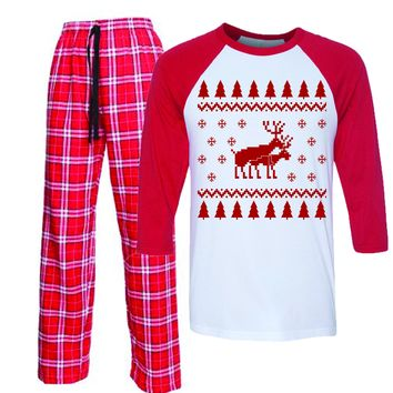 Reindeer funny dirty Christmas Flannel Pajamas for Men and Women