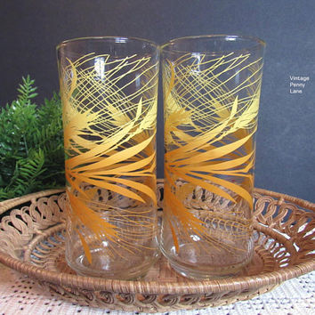 Tall / Large Vintage Drinking Glasses, Water Glasses, Wheat Pattern