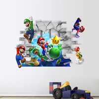 Super Mario party nes switch  Bros Wall Sticker for Kids room Decals Nursery Home Decor Vinyl for kindergarten Bedroom Living Room Art Removable AT_80_8