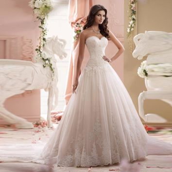 Vestido De Noiva Lace Elegant A-line Sweetheart Appliqued Tulle Bridal Wedding Dress