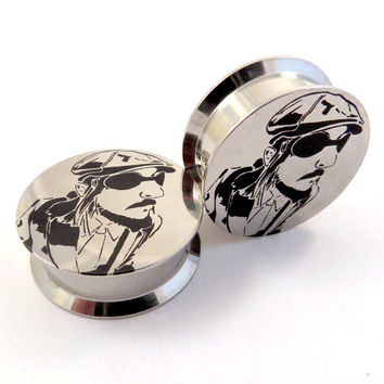 """Les Claypool Internally Threaded Steel Plugs - 1/2"""" (12 mm) 9/16"""" (14mm) 5/8"""" (16mm) 18mm 20mm 22mm 24mm Container Stash Ear Gauges"""