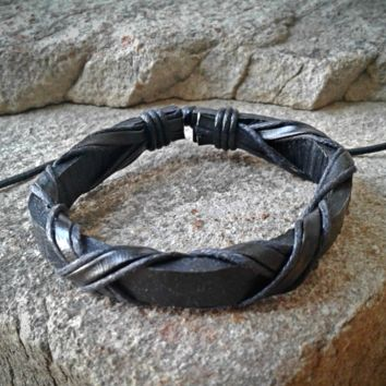 Black Leather Criss Cross Adjustable Unisex Leather Weave Wrap Bracelets
