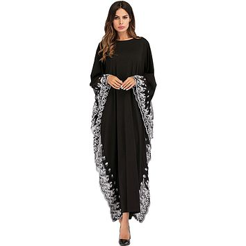 Moroccan Kaftan Middle Eastern Dress Loose Embroidery Robe