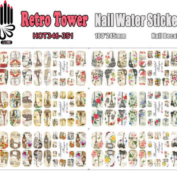 6 Sheets/Lot Art Nail HOT346-351 Retro Tower Full Cover Nail Film Nail Art Water Sticker Decal For Nail Art (6 DESIGNS IN 1)