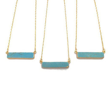Turquoise Necklace - 24K Gold Electroplated Turquoise Necklace - Gemstone Pendant - Turquoise Natural Stone Necklace - Gold Bohemian Jewelry