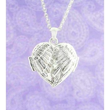 Bright Angel Wings Heart-Shaped Locket Necklace