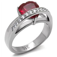 Ruby Red CZ Heart with Round Clear CZ Stainless Steel Ring
